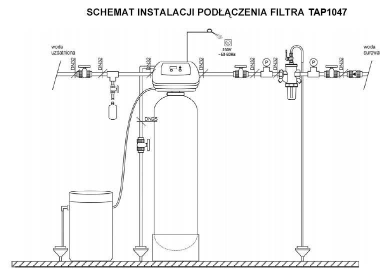 Schemat instalacji podłączenia filtra TAP1047