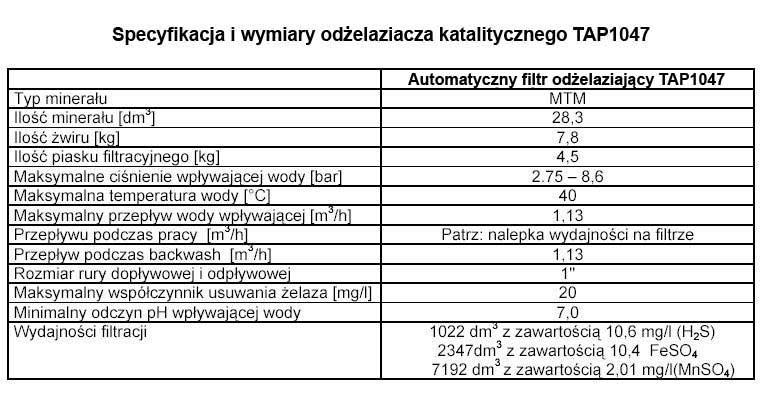 Specyfikacja i wymiary odżelaziacza katalitycznego TAP1047