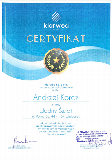 klarwod certyfikat zmiekczacz kompaktowy